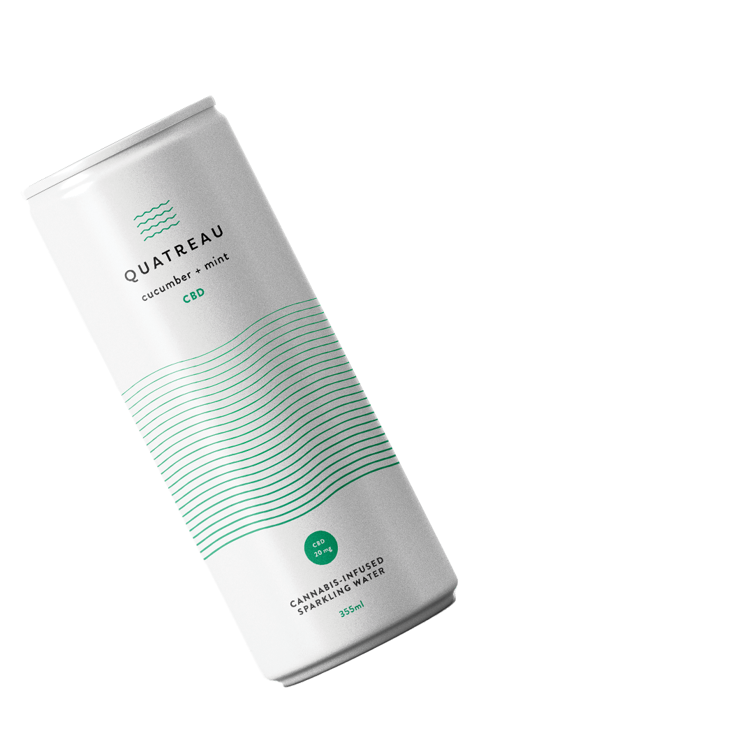 Can of the Quatreau Cucumber + Mint Cannabis Beverage